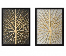 Set 2 tablouri Tree Golden 34x44 cm