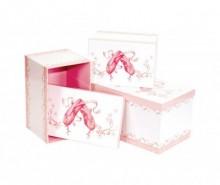 Set 3 cutii cu capac Ballerina Shoes