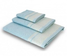 Set 3 prosoape de baie Lace Light Blue