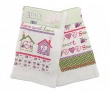 Set 3 prosoape de bucatarie Home Sweet Home 38x64 cm