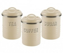 Set 3 recipiente cu capac Vintage Kitchen Cream