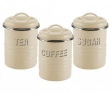 Set 3 recipiente cu capac Vintage Kitchen Cream