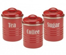 Set 3 recipiente cu capac Vintage Kitchen Red