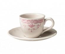 Set 6 cesti si 6 farfurioare pentru cafea Rose Pink