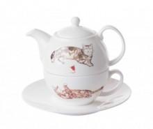 Set ceainic cu ceasca si farfurioara Cats at Home