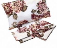 Set cearsaf de pat si 2 fete de perna King Percale Ortensia Old Pink