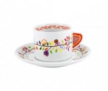 Set ceasca si farfurioara pentru ceai Vila Colorful Swirl