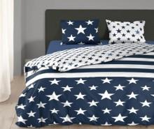 Set de pat Double Ranforce Star Stripes Blue
