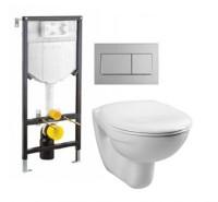 Set vas WC suspendat Vitra Normus cu capac inchidere lenta cadru incastrat cu rezervor si clapeta crom lucios