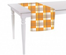 Traversa de masa Orange Checks 40x140 cm